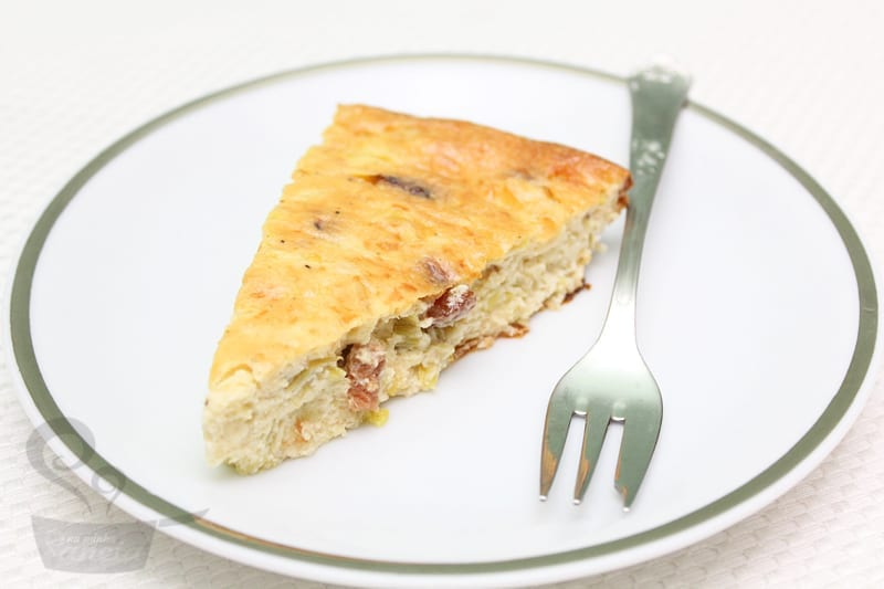 quiche de alho poró com bacon